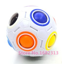 Wholesale Board Puzzles - Wholesale-HOT Spherical Cube Rainbow Ball Football Magic Speed Cube Puzzle Children's Educational Toys Cubes for baby free shipping