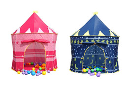 Princess palace toy en Ligne-Kids Play Tentes Teepee Prince et Princess Palace Castle Enfants jouant à l'intérieur en plein air Toy Tent Game House rose et bleu
