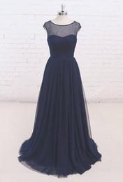 Wholesale P Wedding Dress - Dark Navy Evening Dresses Pleats Tulle Sweep Train Scoop Cap Sleeve Zipper Back Long Wedding Party Dresses Real Photos L&P DQL Studio