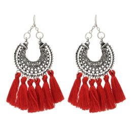 Wholesale Handmade Jewelry For Sale - Fashion Handmade Jewelry Bohemian Style Pendant Red Earrings For Christmas Gift Fashion Stylish Earrings For Sale