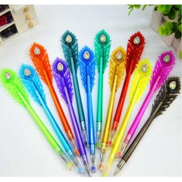 Wholesale Feather Pens - High Quality 12pcs Lot Feather Peacock Shape Gel Pen 12 Colors Plastic Gel Pen Colorful Office School Student Writing Marker Pen