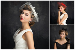Wholesale Elegant Birdcage Hats Veil - Birdcage Veil Accessories Red Sexy Tulle Wedding Veils Short Bridal Birdcage Hats Party Dress Beads Bow Elegant Blusher Veil Prom Gowns