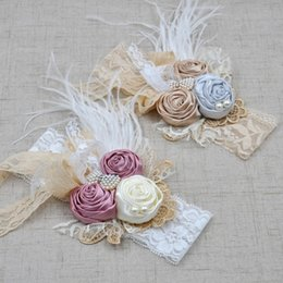 Wholesale Hair Band Feather Headbands - Baby girls lace hair bands children three Faux roses feather headbands kids bows lace handmade hair accessories girls headdress C1198