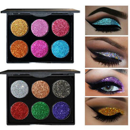 Wholesale Cosmetic Glitter Wholesale - 6 Color Glitter Injections Pressed Glitters Single Eyeshadow Diamond Rainbow Make Up Cosmetic Eye shadow Magnet Palette