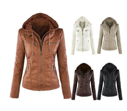 Wholesale Womens Motorcycle Jacket Xl - 5XL 6XL 7XL Plus Size Womens Clothing 2017 Winter Faux Leather Hooded Jacket Zippered Hoodie Parkas Slim Motorcycle Jacket Coat