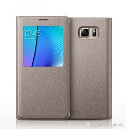 Wholesale Galaxy S4 Smart View - Samsung Galaxy S4 S5 S6 S7 Edge Plus Original Brand PU Leather Flip Case Note 3 4 5 A7 Smart View Window Battery Housing Screen Guard Shell