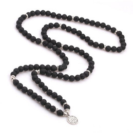 Wholesale Beaded Stone Necklaces - Lava Stone Lotus Pendant Yogo Beads Necklaces Essential Oil Diffuser Necklaces 108 Beads Amulet Jewelry Christmas Gift