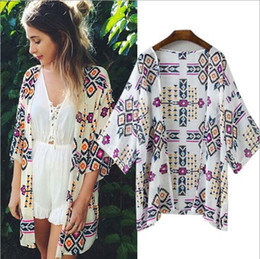 Wholesale wholesale chiffon cardigan - 2017 New Arrival Women Fashion Chiffon Blouse Summer Cardigan Beach Kimono Print Sexy Plus Size Women Clothing Party Club Blouse