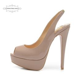 Wholesale Beige Platform Shoes - Size 35-41 Women's 14cm High Heels Beige Patent Leather Sexy Red Bottom Slingback Pumps, Ladies Brand New Platform Wedding Party Dress Shoes