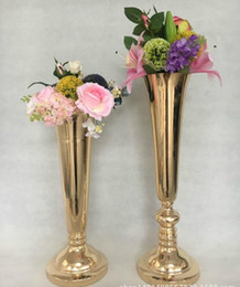 Wholesale Gold Stage Props - wedding flower ball holder gold wedding prop path plating column European style flower ware stage master table vase