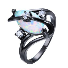 Wholesale Rings For Men Opal - Gorgeous Rainbow Fire Opal Rings For Women Men Black Gold Filled Wedding Party Engagement Promise Ring Christmas Gift