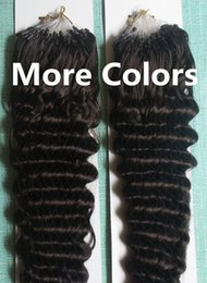 Wholesale Micro Loop Wavy Hair Extensions - 5A Grade Deep Wavy 1g*200s 10-28'' Loop Micro Rings Prebonded Black Brown Blonde Mix Color 100% Indian Remy Human Hair Extensions
