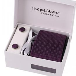 Wholesale Handkerchief Boxes Wholesale - 8cm Mens Ties New Man Fashion Dot Neckties Corbatas Gravata Jacquard Tie, Handkerchief, Cufflinks, Clip Set Tie For Men Gift Box