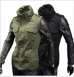 Wholesale Dark Green Coat Men - New Arrivals men's Slim stitching leather sleeves Outerwear & Coats, Korean men's jacket. Black, dark green A070