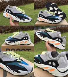 Wholesale Table Waves - 2017 Kanye West Wave Runner 700 Solid Grey Running Shoes Sport Glow In The Dark 700s Boost Fashion Sports Sneakers with Original Box