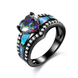 woman ring purple band Promo Codes - Black Plated Rainbow Blue Green Purple Stone Blue Opal Heart Rings For Women Fashion Jewelry Cocktail Ring Gift