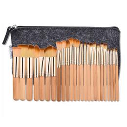 Wholesale Rose Bushes - New Arrive 25pcs Professional Make-up Brushes Kits Wooden Rose Gold Tube Foundation Eyeshadow Bush set With Portable Bag