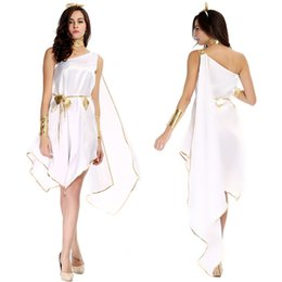 Wholesale Goddess Sexy Clothing - White Black Greek Goddess Cosplay Long Dress One Shoulder Open Chest Sexy Night Party Clothing Adult Women