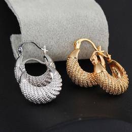 Wholesale Silver Earrings Loops - Earrings Hoop Girl Accessories Fashion 18K Gold Plated Vintage Retro Moon Stripe Hoop Loop Dangle Earrings Clasp Jewelry Gif Hoop Earrings
