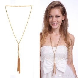 Wholesale Ladies Simple Necklace - Simple Gold Plating Tassel Necklace Ladies Brief Sweater Chain Necklace Snake Chain + Box Chain Pendant For Party Jewelry
