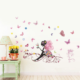 Wholesale Chinese Designs Kids - Wholesale New Butterfly Flower Fairy Wall Decor Bedroom Living Room Background Wall Sticker Removable Waterproof PVC Home Decoration 47x32""