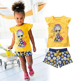 Wholesale Cartoon T Shirts For Kids - Girl Clothing Sets for Kids Girls Summer Casual Clothes Set Children Short Sleeve Cartoon T-shirt + Short Pants Sport Suits