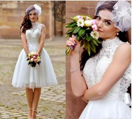 Wholesale Cheap Short Casual Wedding Dresses - 2018 Vintage Short Beach Wedding Dresses Lace High Neck Sleeveless Sexy Backless Casual Knee Length Garden Bridal Gowns Cheap