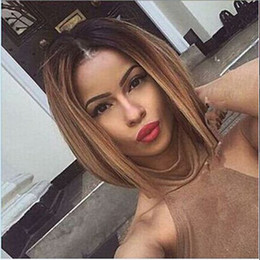 Wholesale Long Hair Tone - Wholesale Bob Wigs 2016 Two Tones Ombre Wig Medium Long Straight Synthetic Hair Wig for Black Women Perruque Peruk Afircan American Wigs