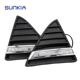 Wholesale Daytime Running Led Ford Focus - Free Shipping 2 Pcs set Waterproof LED Daytime Running Light DRL For Ford Focus With Turning Signal Lights