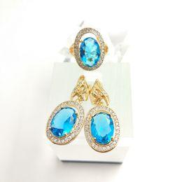 Wholesale Blue Topaz Earrings Oval - Standard Oval sky blue Quartz 925 Silver earrings rings size 7 8 9 For Women Free Gift Box