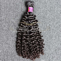 Wholesale Cheap Black Hair Dye - Can Be Dyed Brazilian Curly Hair 4pcs lot Cheap Human Hair Extensions Natural Black Color Hair Weft Free Shipping Bella Hair