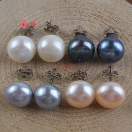Wholesale Black Fresh Water Pearls - Wholesale 10PCS New Stylish High Quality Silver Plated Fresh Water Pearl Bread Stud Earrings Fashion Jewelry