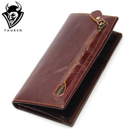 cowhide purses wholesale Coupons - Wholesale- Genuine Leather Men's Wallet Newly Bifold RFID Blocking Wallet For Men Protection  Cowhide Zipper Long Purse