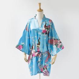 Wholesale Kimono Traditional Dress - Wholesale-Hot Sale Blue Summer Women Satin Nightgown Bridesmaid Wedding Robe Dress Printed Kimono Yukata Gown S M L XL XXL XXXL NR181