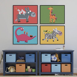 Wholesale Dinosaur Paint - Modern Play Animals Drawings Kids Room Abstract Decoration Wall Art Kawaii Dinosaur Giraffe Poster Prints Canvas Paintings Gifts