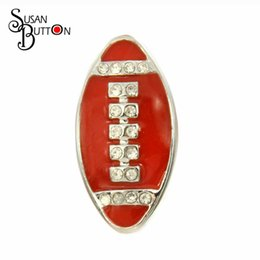 Wholesale Wholesale Metal Crystal Ball Bracelets - Newest 12pcs lots crystal rhinestone Red rugby Ball Metal Snap button Charms 18mm Ginger Snap Chunky Buttons Interchangable jewelry SB386