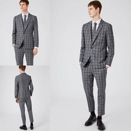 Wholesale Plaid Suit 44 - Dark Grey Three Pieces Men Suits For Weddings 2017 Fall New Arrival Tuxedo Glen Plaid Design Groom Casual Wear