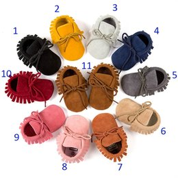 Wholesale Cow Leather Moccasins Shoes - Free DHL 11 Color Baby moccasins soft sole PU leather first walker shoes baby newborn Matte texture shoes Tassels maccasions kids shoes B