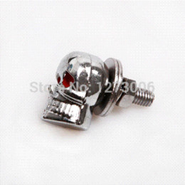 Wholesale Chrome Skull License Plate Frame - 4Pcs Chrome Motorcycle Skull Heads   License Plate Tag Frame Bolts With Red Eyes Flashers Cheap Flashers