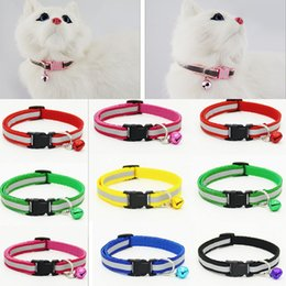 Wholesale Safety Reflective Dog Collars - Pack of 2 Safety Nylon Dog Puppy Cat Collar Breakaway Adjustable Cats with Bell Reflective Collars