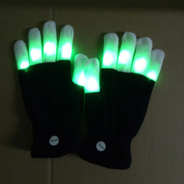 Wholesale led finger light white - Rave Gloves Mitts Flashing Finger Lighting Glove LED Colorful 7 Colors Light Show Black and White DHL free shipping OTH661
