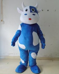 Wholesale Cow Costumes For Sale - 0524 free shipping 0524 free shipping adult blue milk cow mascot costume with mini fan inside the head for sale
