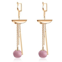 Wholesale Cloth Earrings - New Fashion Red stud Earrings Paragraph Cloth Ball Design Long Tassel Earring For Women Personality Alloy Jewelry Wholesale