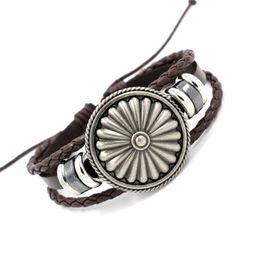 Wholesale Mens Leather Infinity Bracelet - Mens Leather Bracelets Fashion Vintage Alloy Shield Charm Bracelets Black Brown Leather Weave Infinity bracelet Wristband Punk Style Jewelry