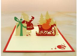 Wholesale Christmas Cards Santa - Best Wishes Merry Christmas 3D Santa Claus Gift Greeting Cards handmade fold Blessing Card Postcard invitation card
