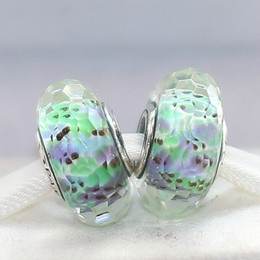 Wholesale Pandora Sea Glass - 5pcs 925 Sterling Silver Green Sea Fascinating Faceted Murano Glass Beads Fit European Style Pandora Charm Jewelry Bracelets & Necklaces