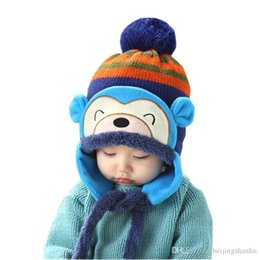 Wholesale Anne Blue - Kids Winter Hats Fashion Winter Warm Kid Baby Girl Boy Ear Thick Knit Beanie Cap Hat For 5 Months To 5 Years Anne