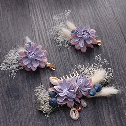 Wholesale Bridal Jewelry Sets Korean - beijia Korean Style Handmade Flower Hair Comb Clips Set Bridal Jewelry Wedding Hair Pins Accessories Women Hairwear G412