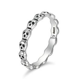 Wholesale Skull Rings 925 Silver - Genuine 925 Sterling Silver Stackable Ring Skeleton Face Skull Finger Rings for Women Jewelry Anel Halloween Gift SCR092