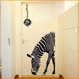 Wholesale Zebra Wall Decorations - Black Zebra DIY Wall Stickers Wall Poster Wall Stick Abstract Art Decor Animal Stickers Home Decoration (Size 60*90cm)